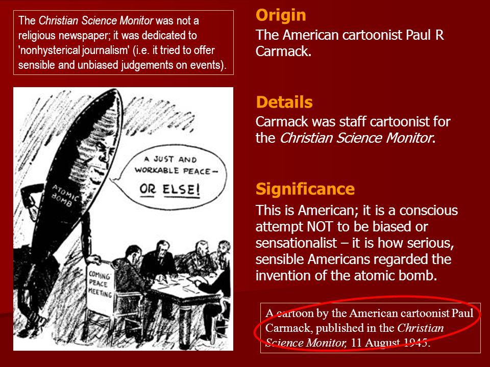Origin Details Significance The American cartoonist Paul R Carmack.