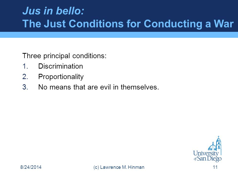 Jus in bello: The Just Conditions for Conducting a War