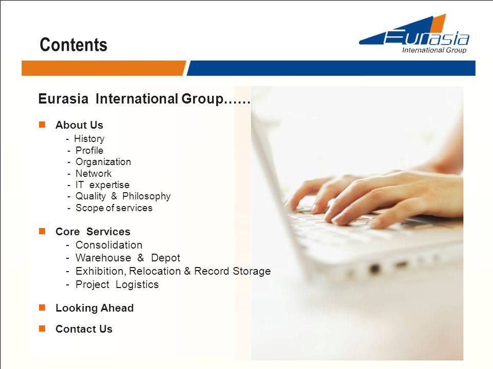 Contents Eurasia International Group…… About Us - History