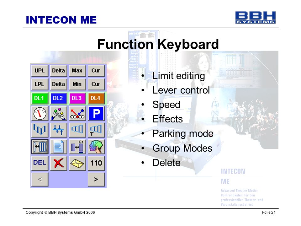 Function Keyboard Limit editing Lever control Speed Effects
