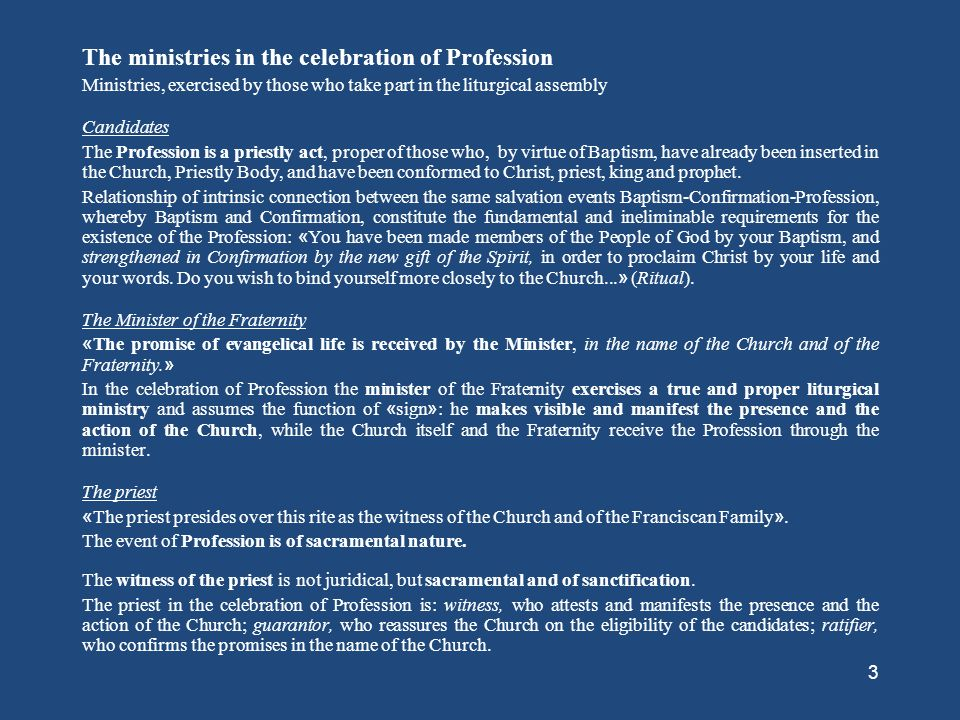 The ministries in the celebration of Profession