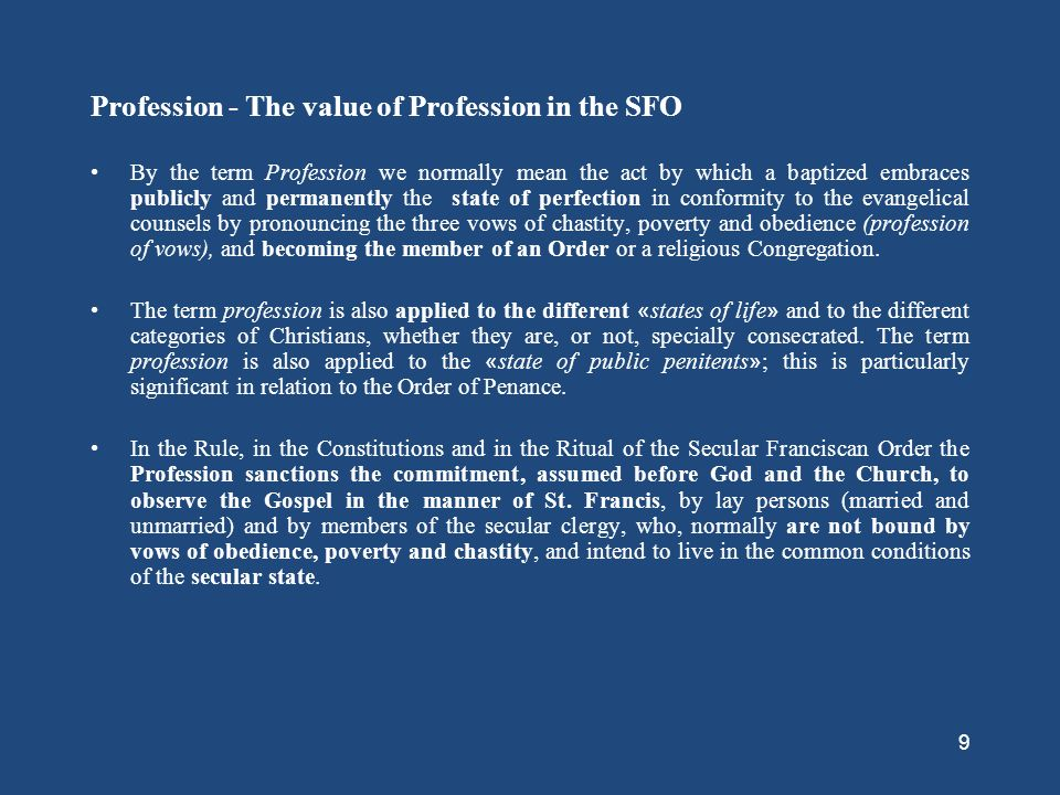 Profession - The value of Profession in the SFO