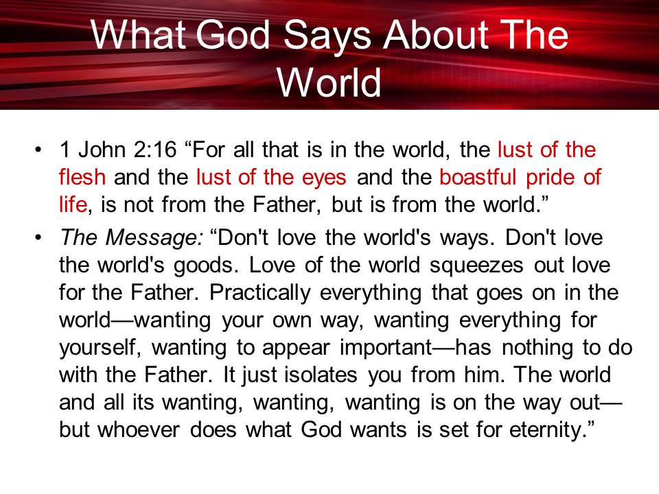 What God Says About The World