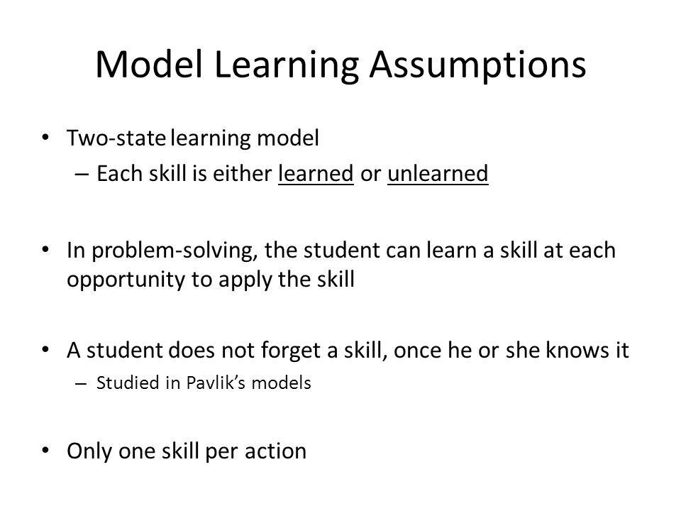Model Learning Assumptions