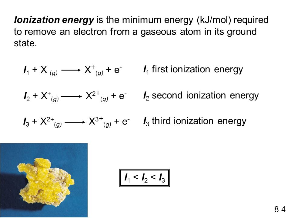 I1 first ionization energy