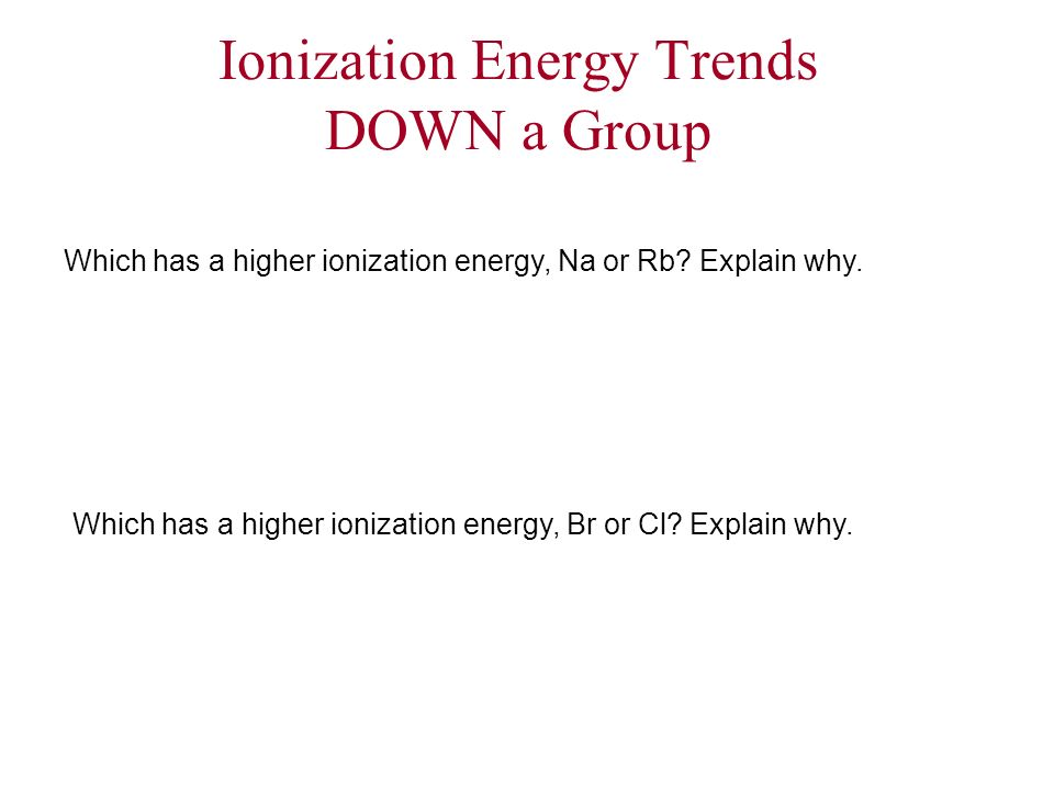 Ionization Energy Trends DOWN a Group