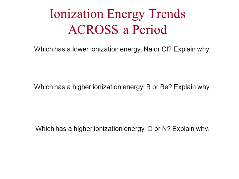 Ionization Energy Trends ACROSS a Period