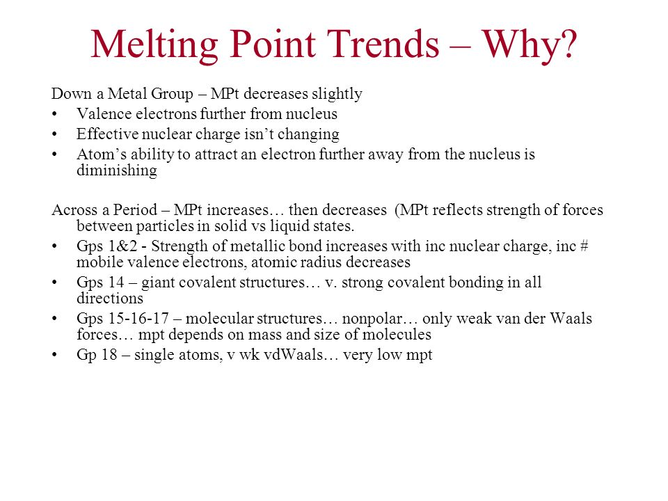 Melting Point Trends – Why