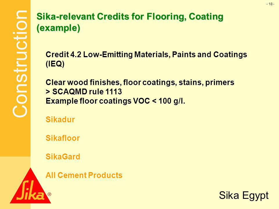 Sika-relevant Credits for Flooring, Coating (example)