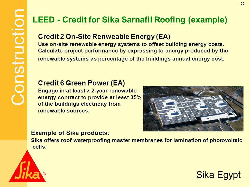 LEED - Credit for Sika Sarnafil Roofing (example)