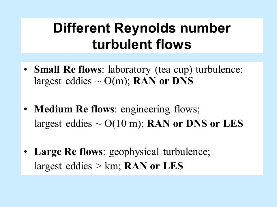 Different Reynolds number turbulent flows