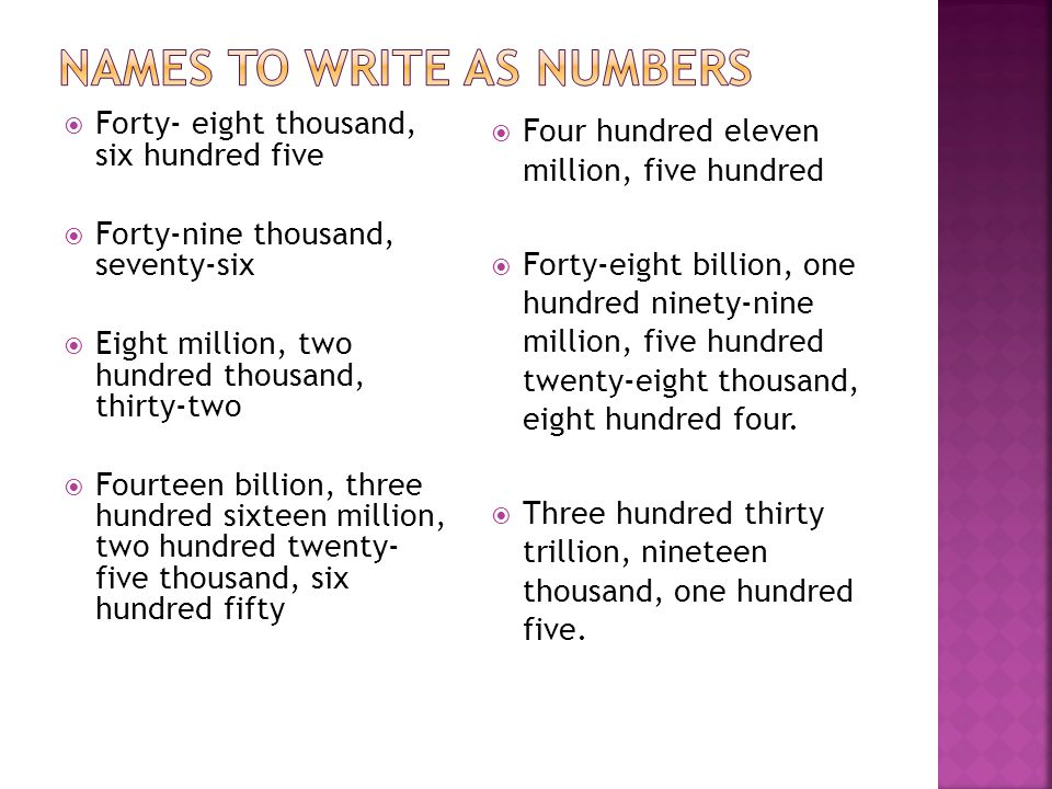 9ef50031b9f Second five answers 101,000,003 One hundred one million three 43,099. 44  names ...