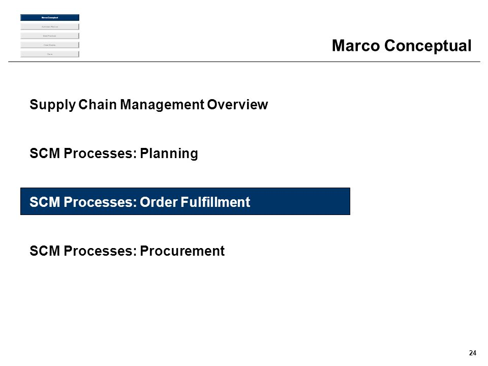Marco Conceptual Supply Chain Management Overview