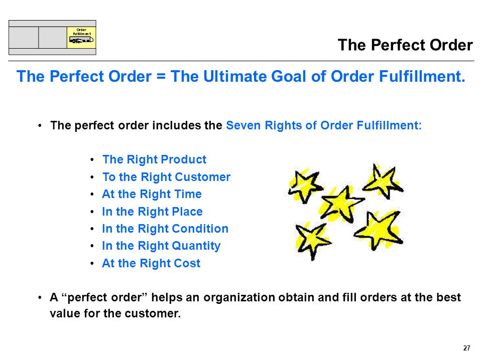 The Perfect Order = The Ultimate Goal of Order Fulfillment.