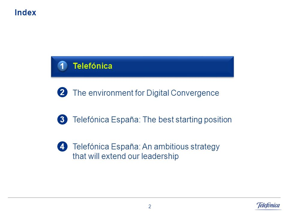 Index 1. Telefónica. The environment for Digital Convergence. Telefónica España: The best starting position.