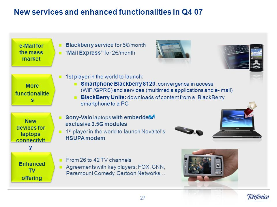 New services and enhanced functionalities in Q4 07