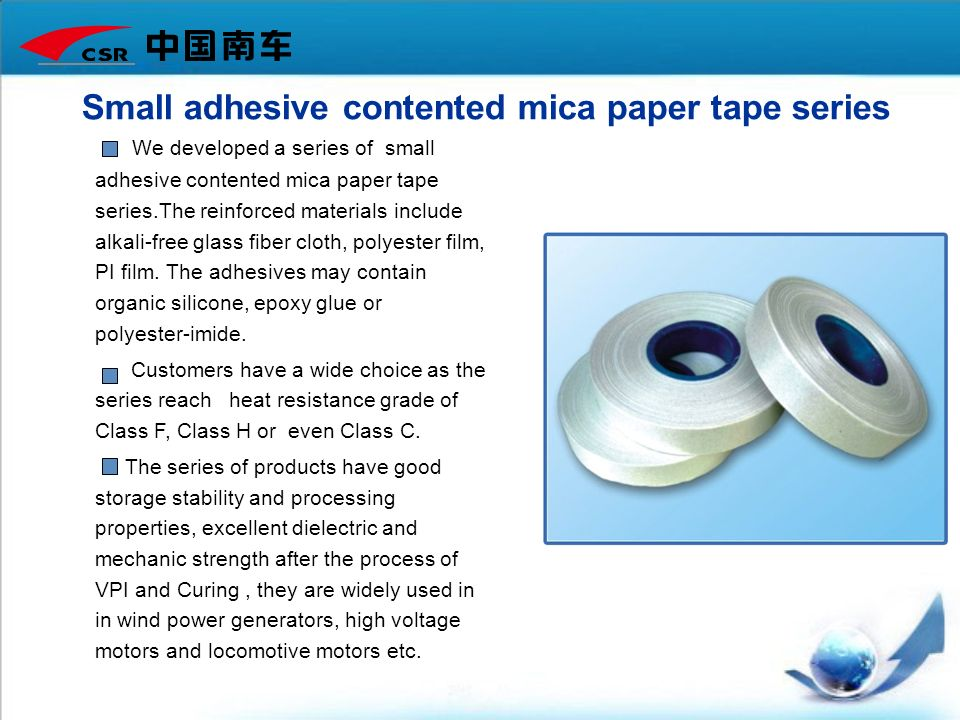 Small adhesive contented mica paper tape series