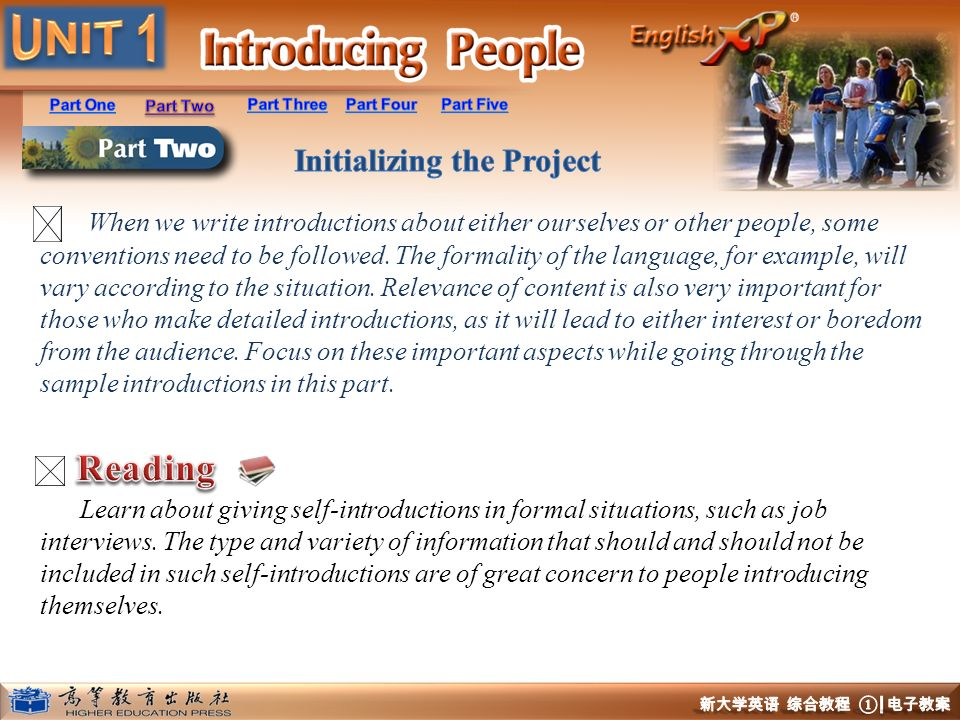 When we write introductions about either ourselves or other people, some conventions need to be followed. The formality of the language, for example, will vary according to the situation. Relevance of content is also very important for those who make detailed introductions, as it will lead to either interest or boredom from the audience. Focus on these important aspects while going through the sample introductions in this part.
