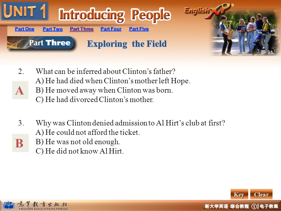 A B 2. What can be inferred about Clinton's father