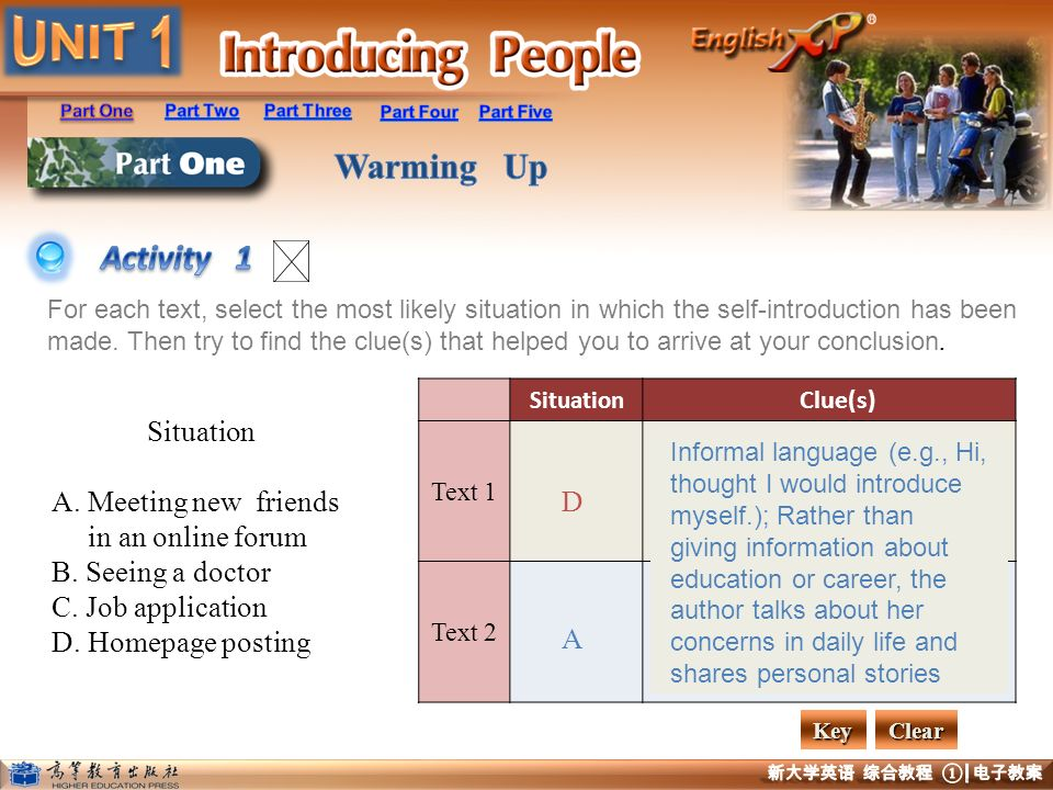 Activity 1 Situation A. Meeting new friends in an online forum