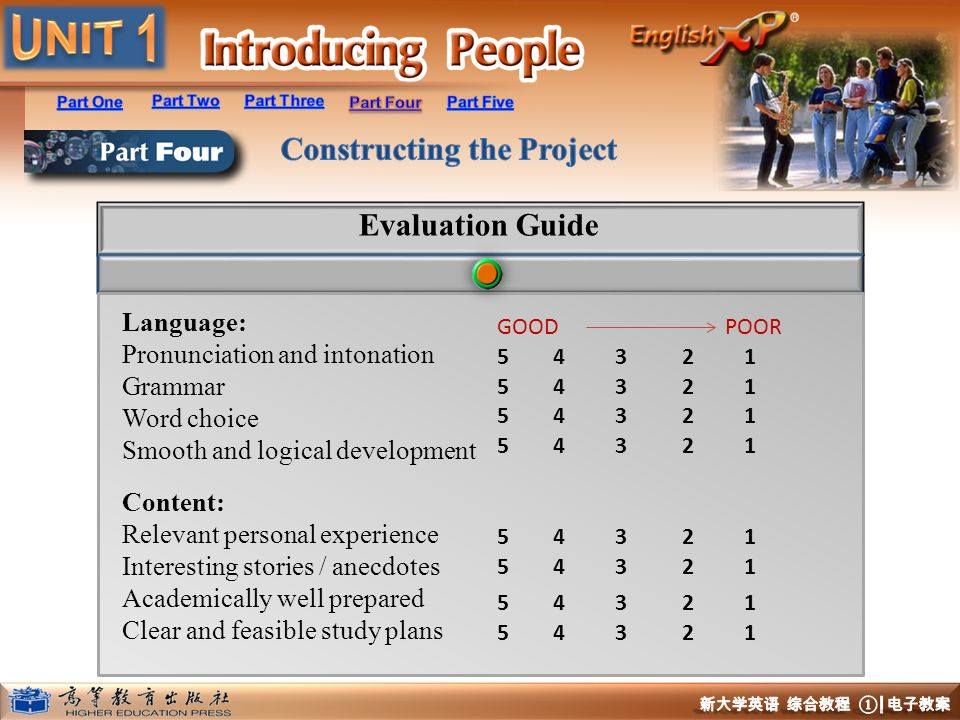 Evaluation Guide Language: Pronunciation and intonation Grammar
