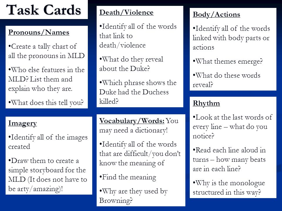 Task Cards Death/Violence Body/Actions