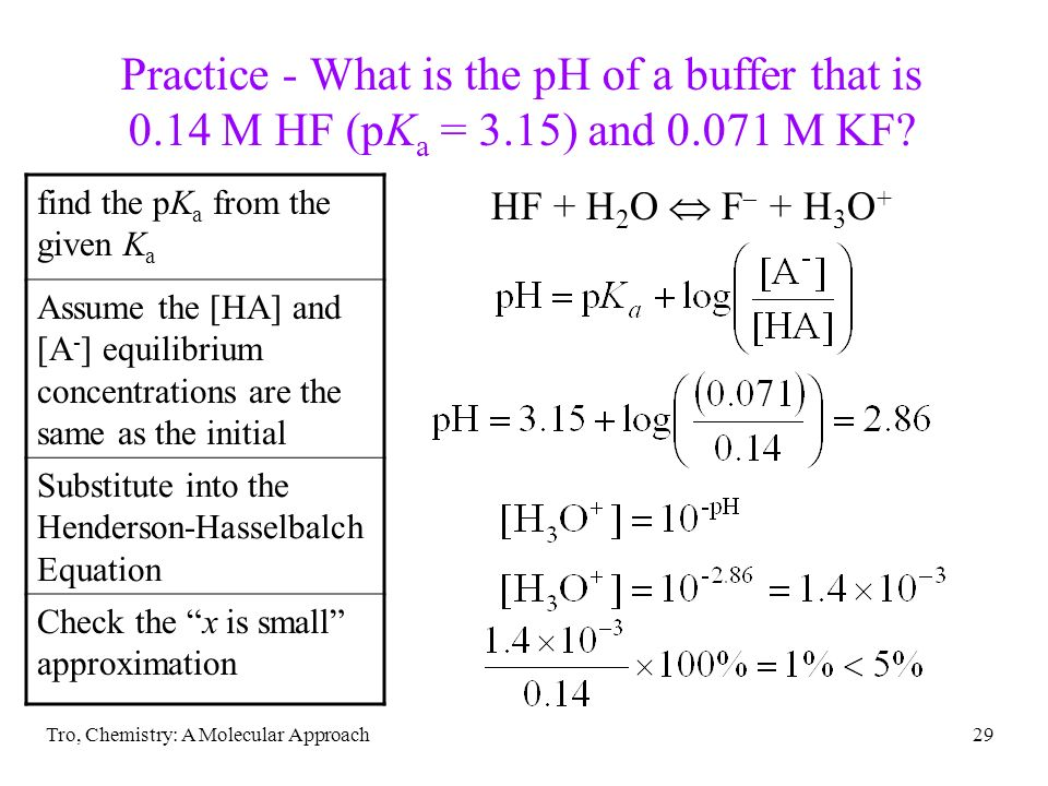 Practice - What is the pH of a buffer that is 0. 14 M HF (pKa = 3
