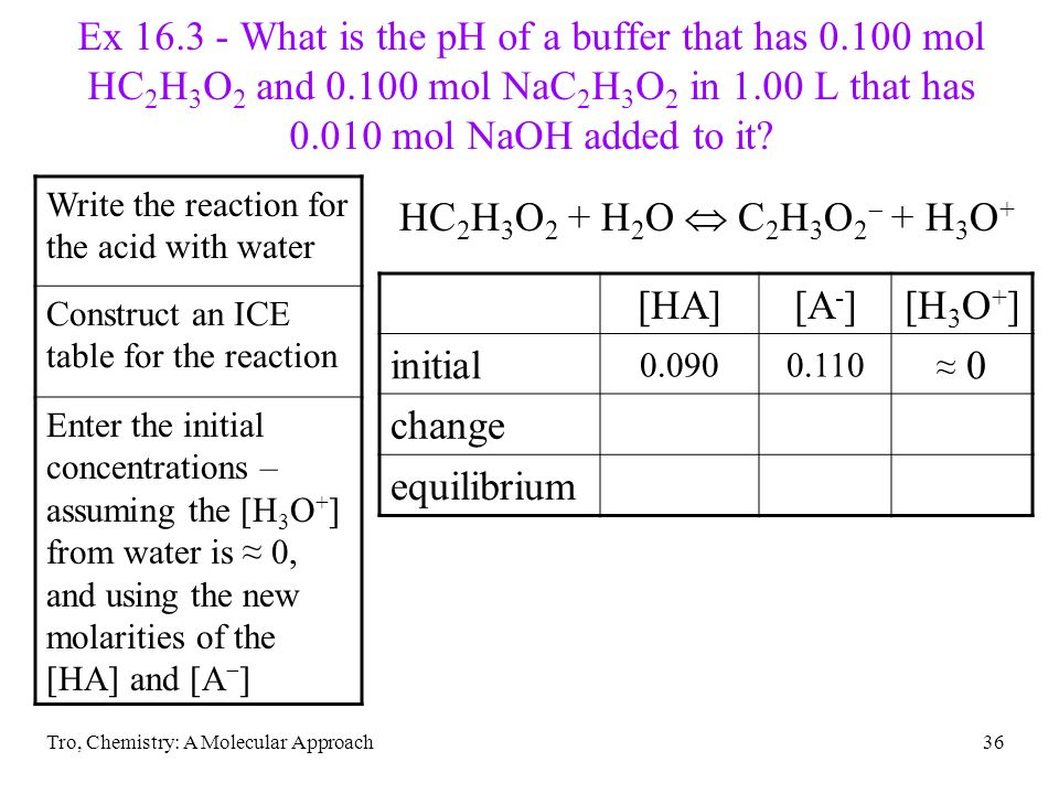 Ex 16.3 - What is the pH of a buffer that has 0.100 mol HC2H3O2 and 0.100 mol NaC2H3O2 in 1.00 L that has 0.010 mol NaOH added to it