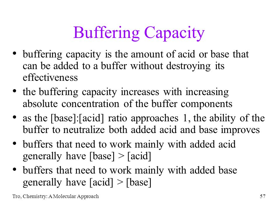 Buffering Capacity buffering capacity is the amount of acid or base that can be added to a buffer without destroying its effectiveness.