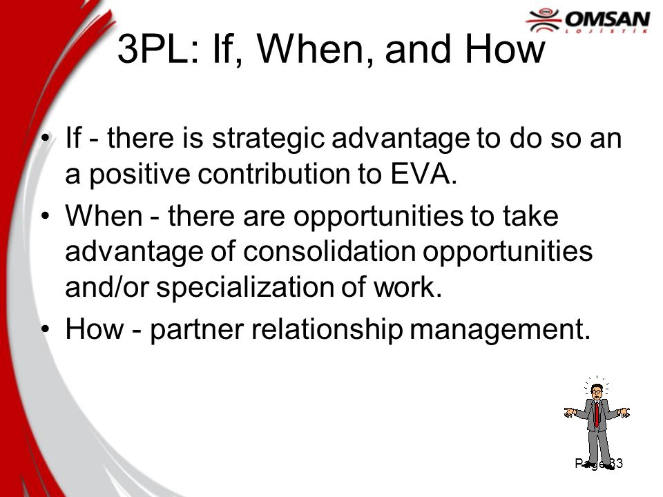 3PL: If, When, and How If - there is strategic advantage to do so an a positive contribution to EVA.