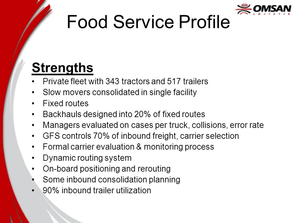 Food Service Profile Strengths