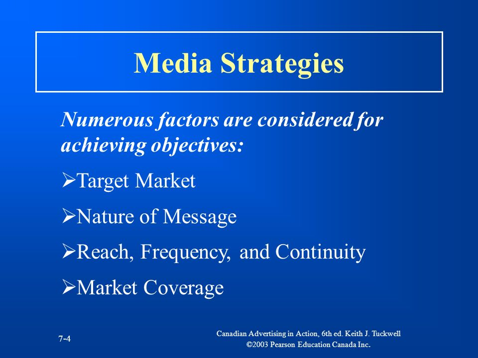 Media Strategies Numerous factors are considered for achieving objectives: Target Market. Nature of Message.