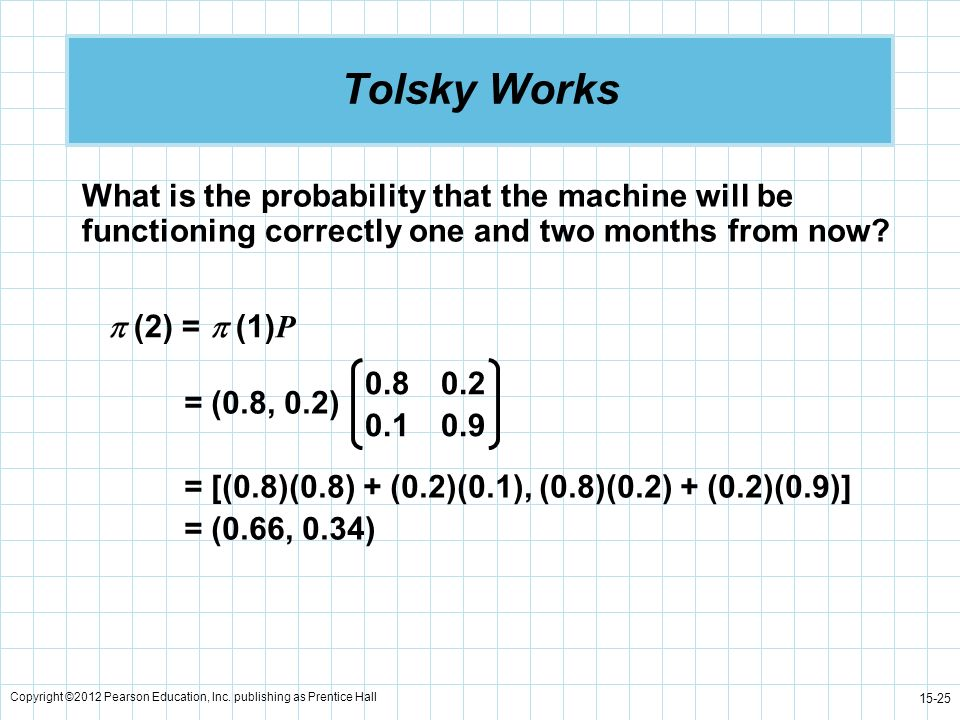 Tolsky Works What is the probability that the machine will be functioning correctly one and two months from now