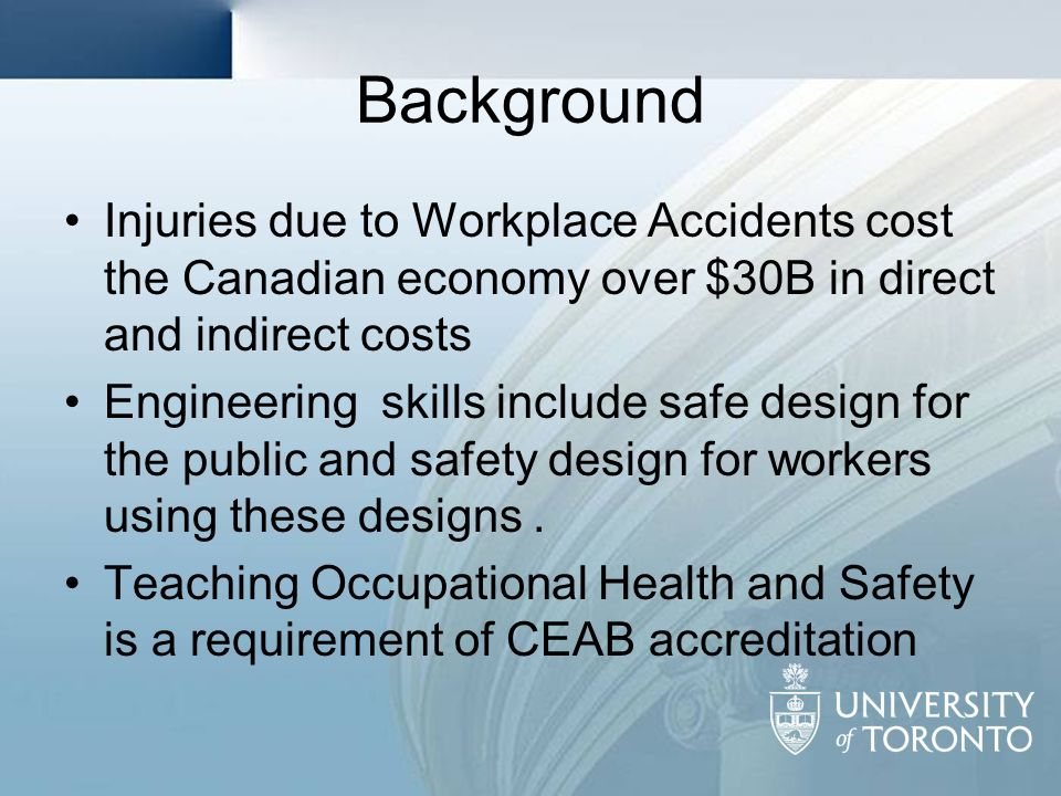 Background Injuries due to Workplace Accidents cost the Canadian economy over $30B in direct and indirect costs.