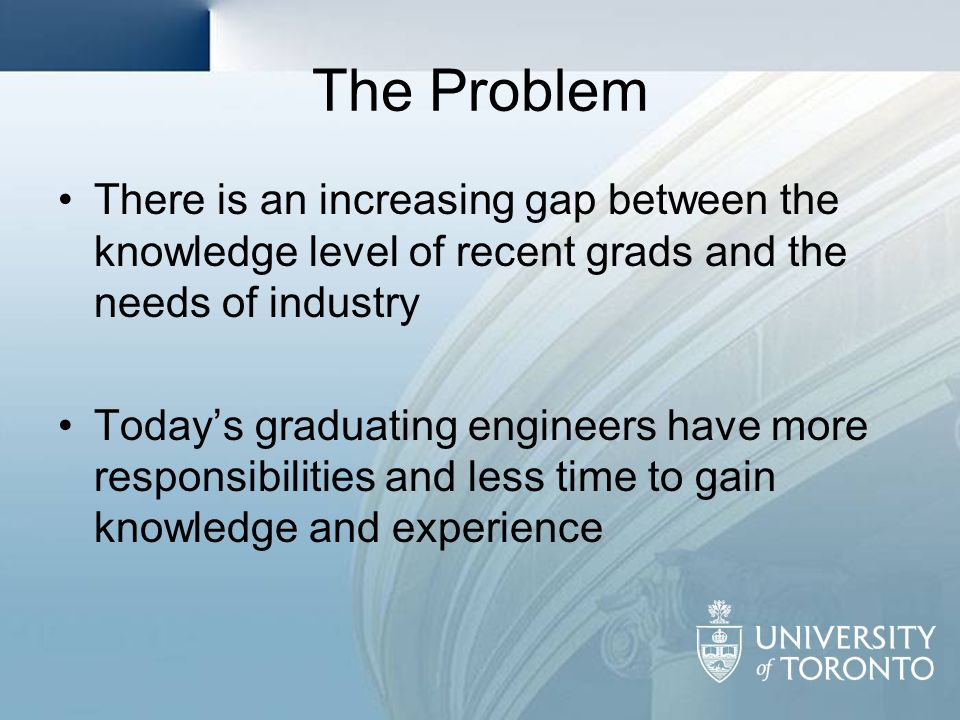 The Problem There is an increasing gap between the knowledge level of recent grads and the needs of industry.
