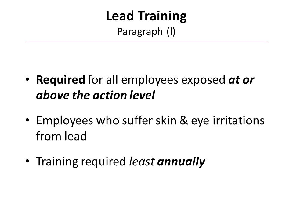 Lead Training Paragraph (l)