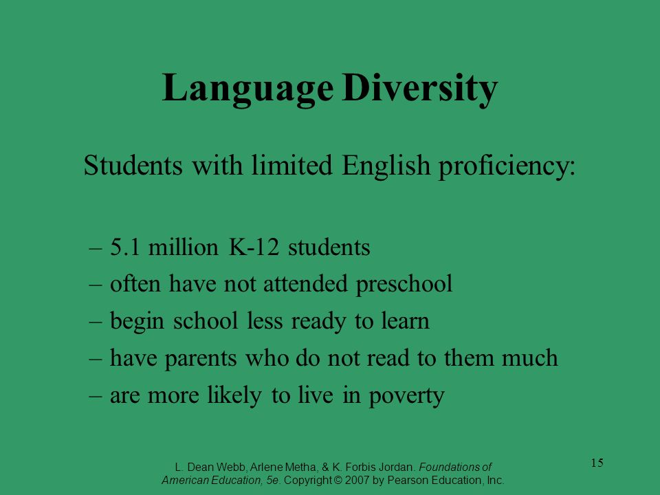 Students with limited English proficiency: