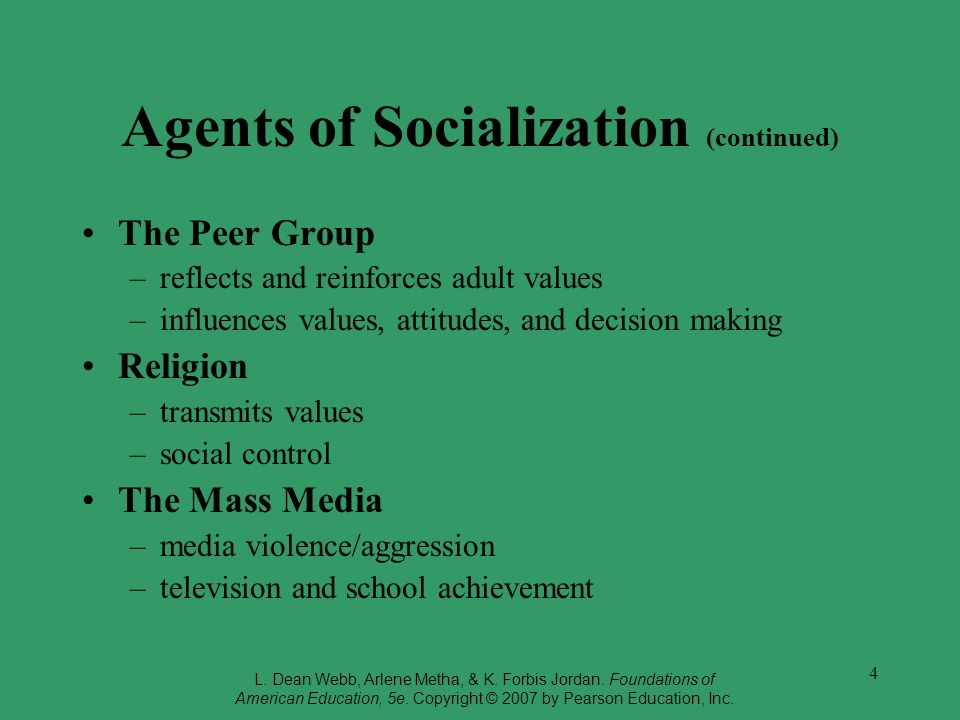 Agents of Socialization (continued)