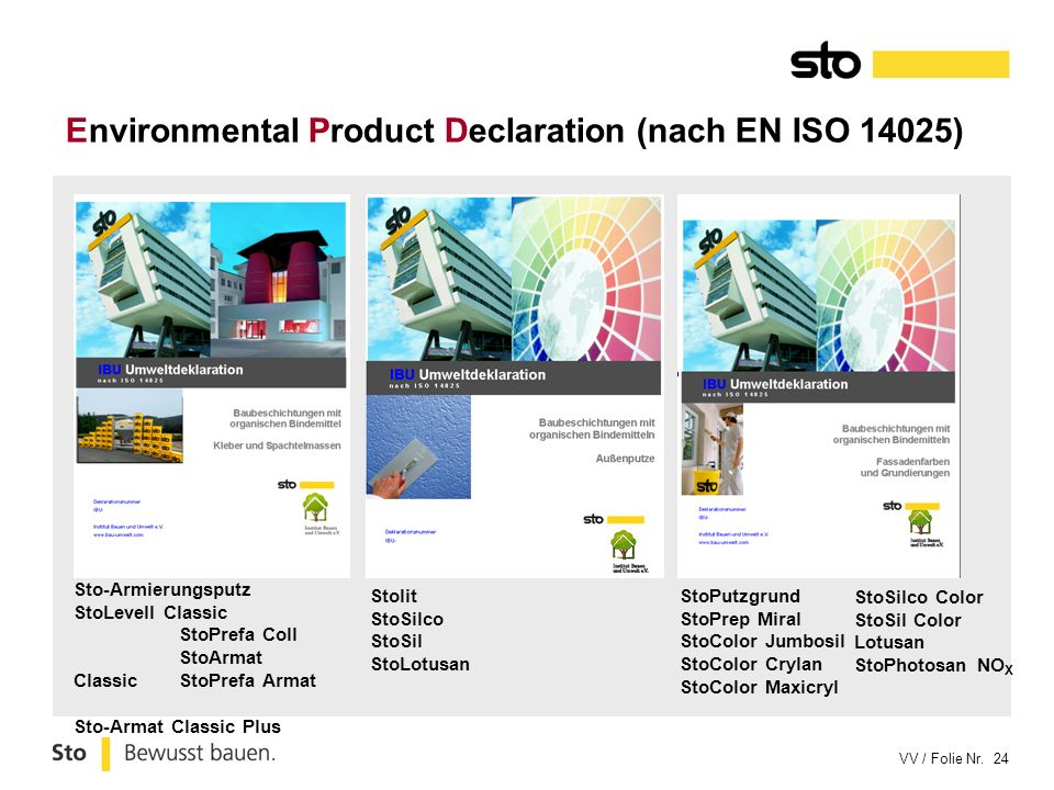 Environmental Product Declaration (nach EN ISO 14025)