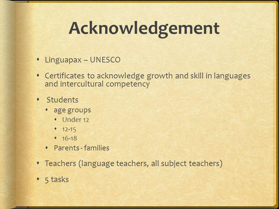 Acknowledgement Linguapax – UNESCO