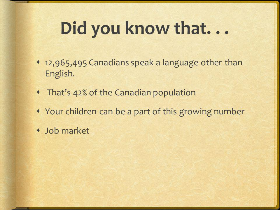 Did you know that. . . 12,965,495 Canadians speak a language other than English. That's 42% of the Canadian population.