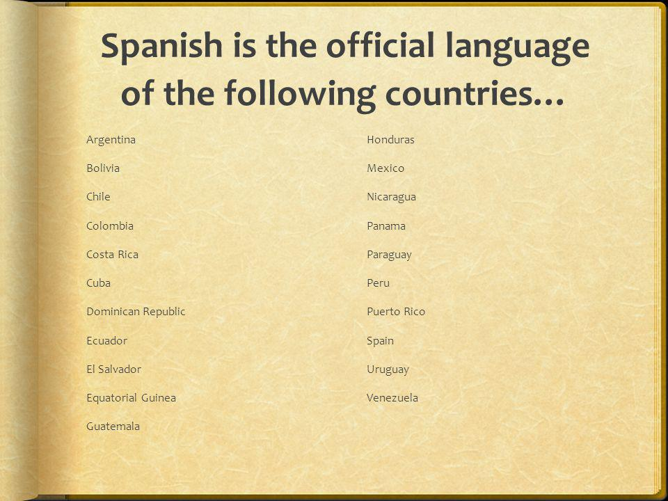 Spanish is the official language of the following countries…