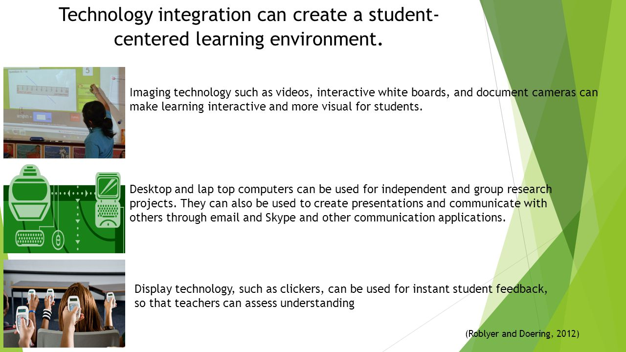 Technology integration can create a student-centered learning environment.
