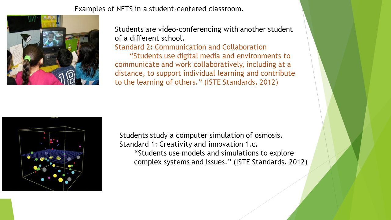 Examples of NETS in a student-centered classroom.