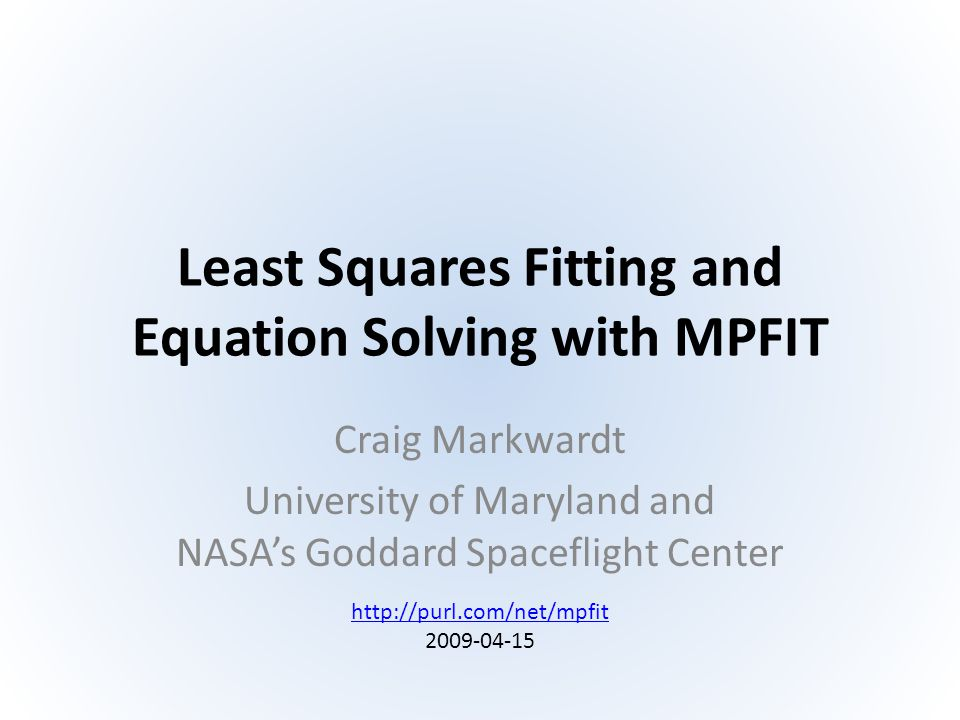 Least Squares Fitting and Equation Solving with MPFIT