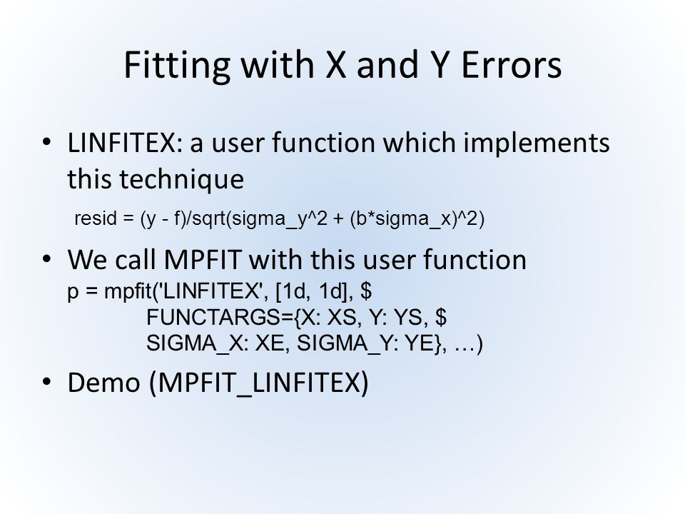 Fitting with X and Y Errors