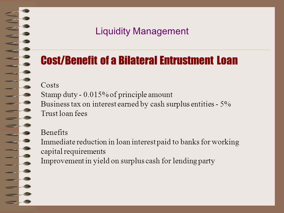 Cost/Benefit of a Bilateral Entrustment Loan