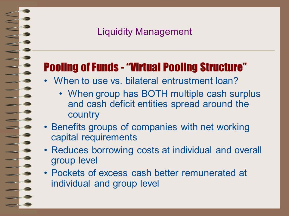 Pooling of Funds - Virtual Pooling Structure