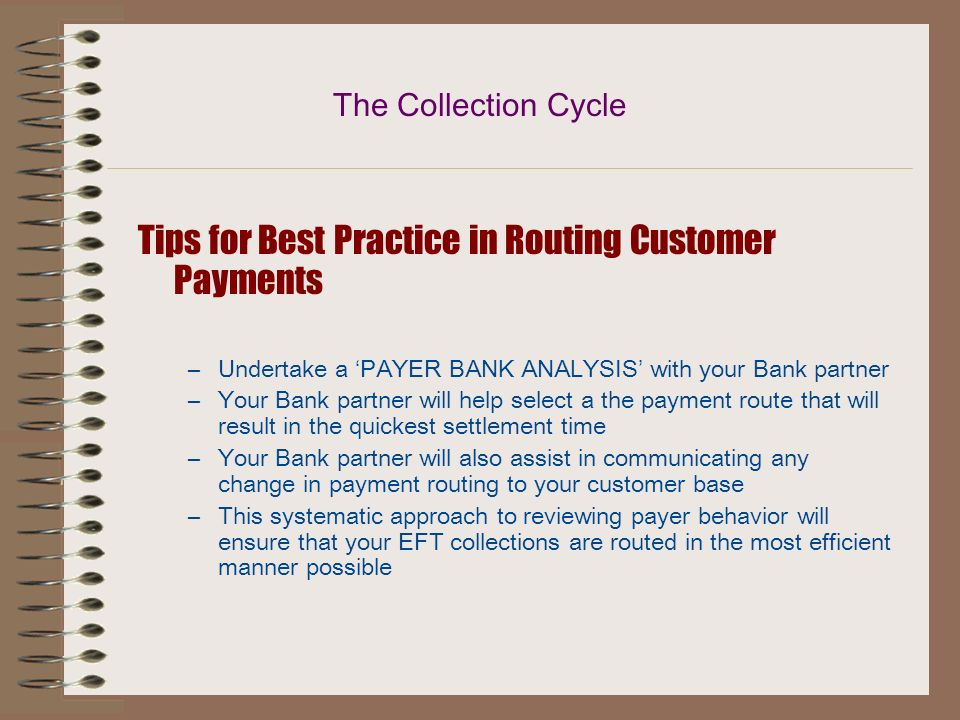 Tips for Best Practice in Routing Customer Payments