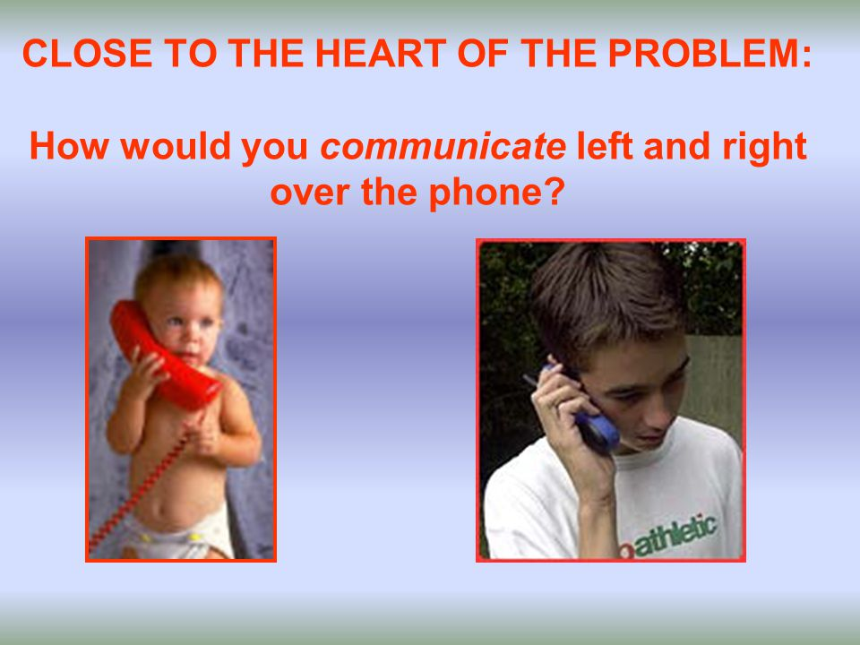 CLOSE TO THE HEART OF THE PROBLEM: How would you communicate left and right over the phone